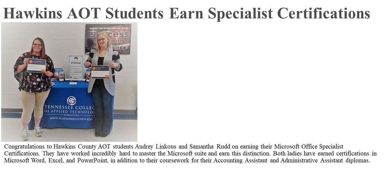 Hawkins Co Administrative Office Technology Students Earn Microsoft