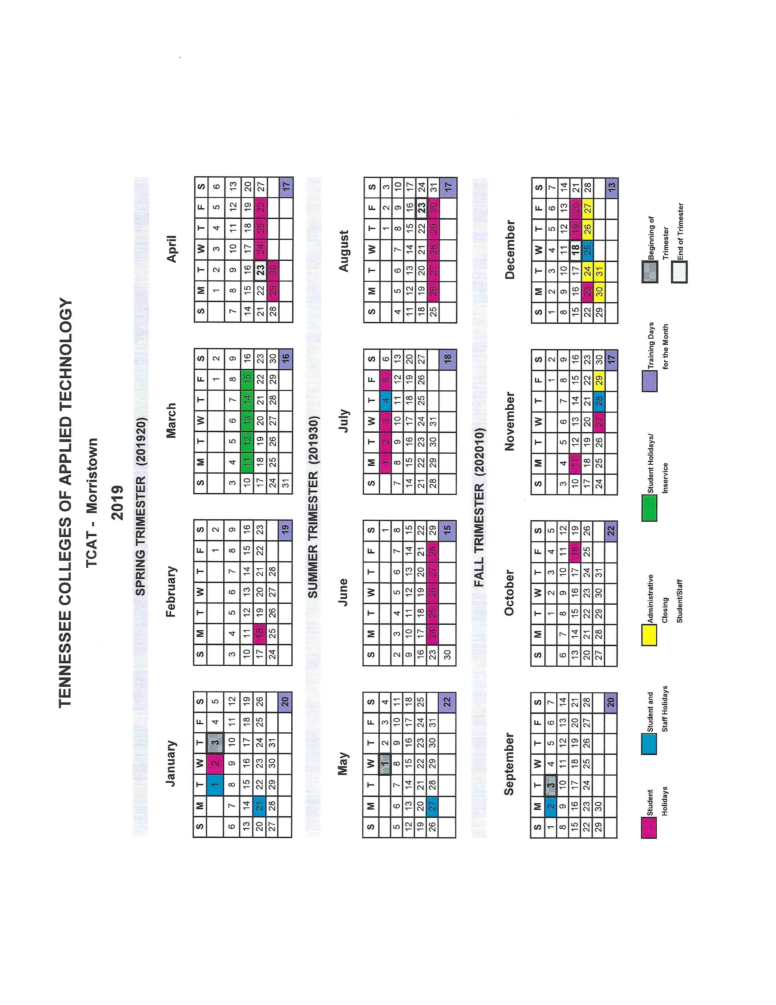 2019 academic calendar